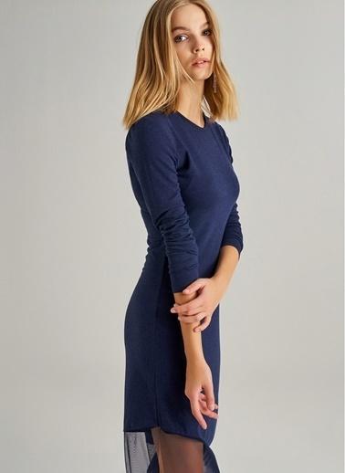Monamoda Monamoda Eteği Tül Detaylı Örme Kadın Elbise Lacivert